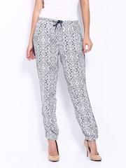 ONLY Women White & Charcoal Grey Printed Trousers
