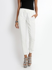 ONLY Women White Linen Blend Trousers