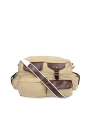 OTLS Unisex Beige Flapper Messenger Bag