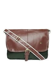OTLS Unisex Dark Green & Brown Messenger Bag