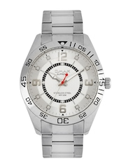 Omax Men Silver Toned Dial Watch