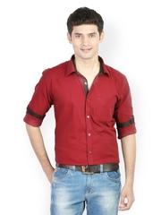 Orange Valley Men Red Slim Fit Smart-Casual Shirt