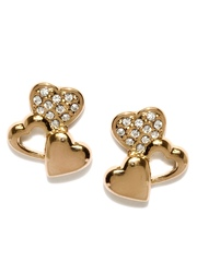 SWAN by Ouxi Rose Gold-Toned Heart-Shaped Stud Earrings with Swarovski Elements