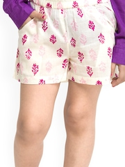 Oxolloxo Girls White & Pink Printed Shorts