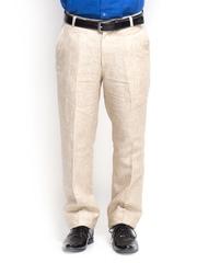 Oxolloxo Men Beige Linen Trousers