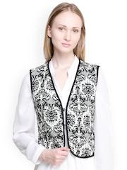 Oxolloxo Women Black & White Printed Waistcoat