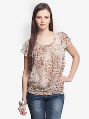 Oxolloxo Women Brown & White Printed Top