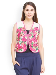 Oxolloxo Women White & Pink Floral Print Quilted Waistcoat