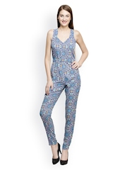 Oxolloxo Women Blue Printed Jumpsuit