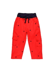 Oye Boys Red Printed Smart Fit Cargo Trousers