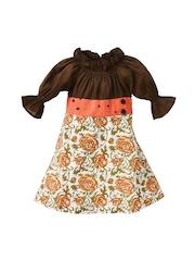 Oye Girls Brown Printed Fit & Flare Dress