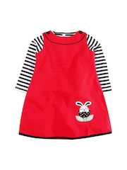 Oye Girls Red Striped A-Line Dress