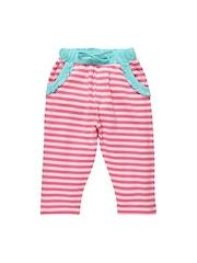 Oye Girls Pink & Blue Striped Leggings