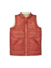 Oye Unisex Kids Rust Orange & Beige Sleeveless Reversible Jacket