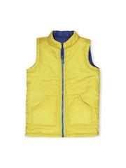 Oye Unisex Kids Yellow & Blue Sleeveless Reversible Jacket
