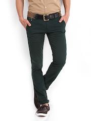 POE Men Dark Green Pencil Fit Chino Trousers