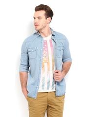 POE Men Light Blue Slim Fit Casual Denim Shirt
