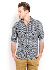 POE Men Navy Bird Print Casual Shirt