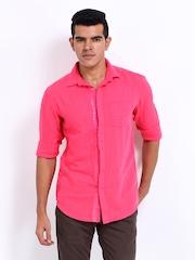 POE Men Pink Linen Blend Slim Fit Casual Shirt