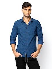 POE Blue Printed Casual Shirt