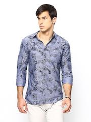 POE Men Blue Printed Casual Shirt