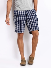 POE Men Blue & White Checked Shorts
