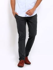 POE Men Grey Pencil Fit Chino Trousers