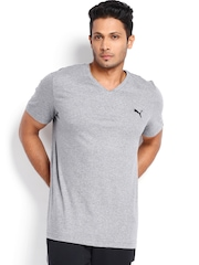 PUMA Men Grey Melange ESS V-Neck T-shirt