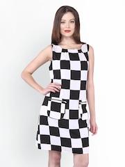 PURYS Women White & Black Checked Shift Dress