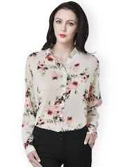 PURYS Women Beige Floral Printed Shirt
