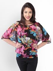 PURYS Women Black Floral Print Top