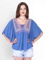 PURYS Women Blue Embroidered Top