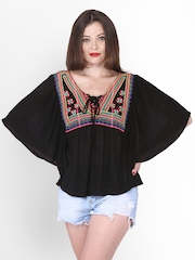 PURYS Women Black Embroidered Top