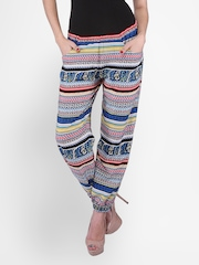 PURYS Women Multicoloured Printed Palazzo Trousers
