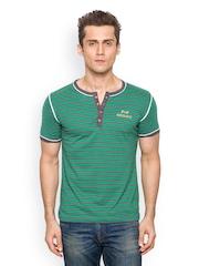 Men Green Striped Henley T-Shirt Paani Puri