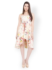 Palette Cream-Coloured Printed High Low Dress