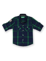 Palm Tree Boys Navy & Green Checked Shirt