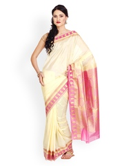 Parchayee Cream-Coloured & Pink Silk Traditional Saree