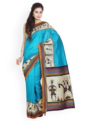Parchayee Blue Printed Art Silk Traditional Saree