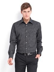 Park Avenue Men Black & White Striped Slim Fit Formal Shirt