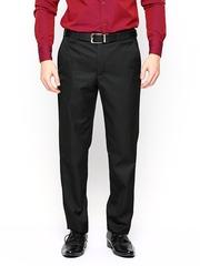 Park Avenue Men Black Smart Fit Striped Formal Trousers