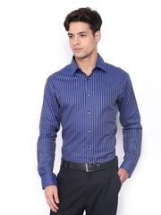 Park Avenue Men Blue & Grey Striped Super Slim Fit Formal Shirt
