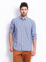 Park Avenue Men Blue Checked Slim Fit Casual Shirt