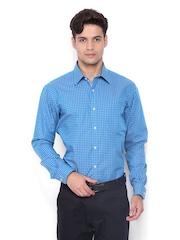 Park Avenue Men Blue Checked Slim Fit Formal Shirt