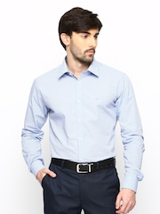 Park Avenue Men Blue Printed Super Slim Fit Formal Shirt