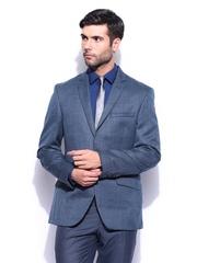 Park Avenue Men Blue Wool Blend Super Slim Fit Blazer