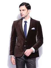 Park Avenue Men Dark Brown Single Breasted Super Slim Fit Blazer