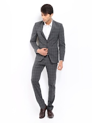Park Avenue Grey Checked Super Slim Single Breasted Suit
