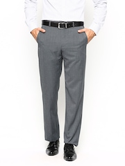 Park Avenue Men Grey Slim Fit Formal Trousers