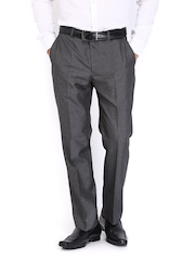 Park Avenue Men Grey Smart Slim Fit Formal Trousers